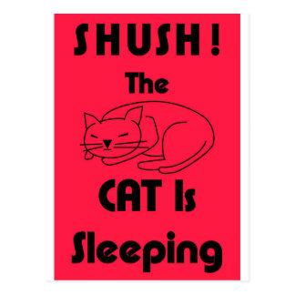 Cartão Postal SHUSH! O gato está dormindo