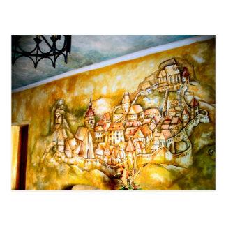 Cartão Postal Sighisoara, pintura mural da cidade medieval