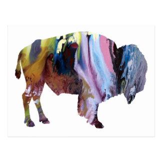 Cartão Postal Silhueta abstrata do bisonte