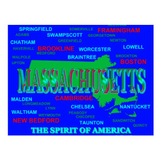 Cartão Postal Silhueta colorida do mapa do orgulho do estado de