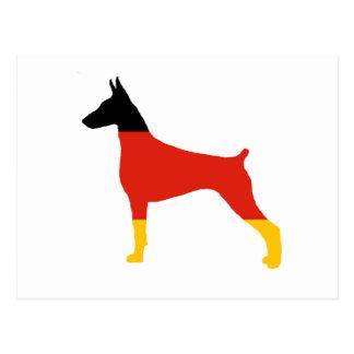 Cartão Postal silhueta da Alemanha-bandeira do pinscher do