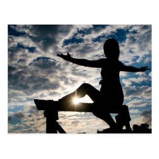 Cartão Postal Silhueta da ioga