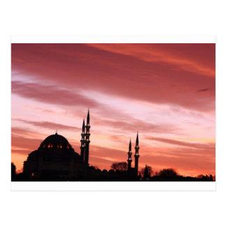 Cartão Postal Silhueta da Istambul-Mesquita