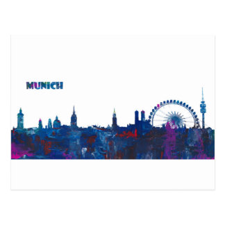 Cartão Postal Silhueta da skyline de Munich