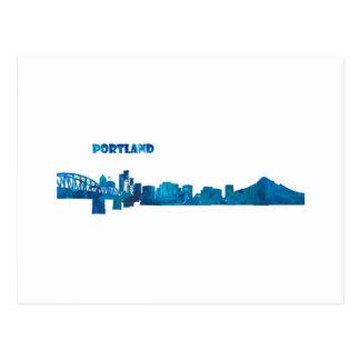 Cartão Postal Silhueta da skyline de Portland
