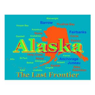 Cartão Postal Silhueta do mapa do orgulho de Alaska