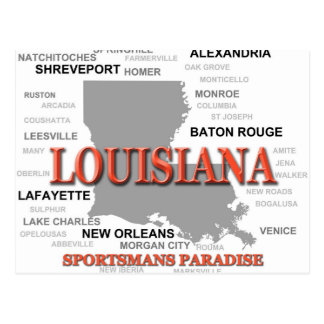 Cartão Postal Silhueta do mapa do orgulho do estado de Louisiana