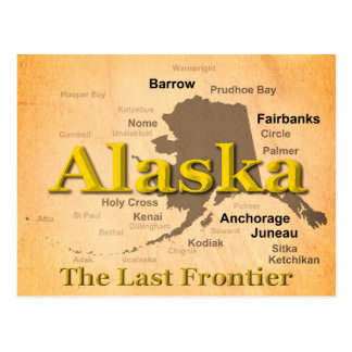 Cartão Postal Silhueta envelhecida do mapa de Alaska