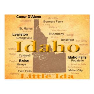 Cartão Postal Silhueta envelhecida do mapa do orgulho do estado