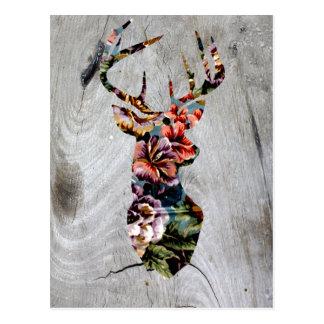Cartão Postal Silhueta floral da cabeça dos cervos do vintage do