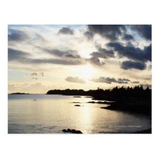 Cartão Postal Silhueta litoral no Kerry do condado, Ireland
