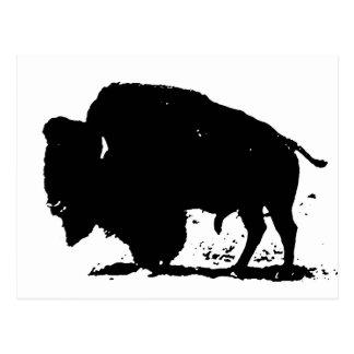 Cartão Postal Silhueta preta & branca do búfalo