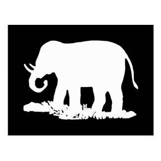 Cartão Postal Silhueta preto e branco do elefante
