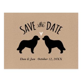 Cartão Postal Silhuetas de Leonberger que Wedding economias a