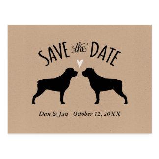 Cartão Postal Silhuetas de Rottweiler que Wedding economias a