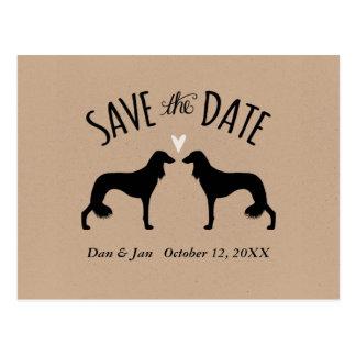 Cartão Postal Silhuetas de Saluki que Wedding economias a data