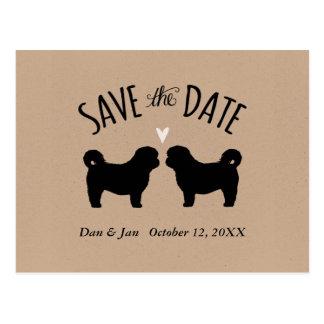 Cartão Postal Silhuetas de Shih Tzu que Wedding economias a data
