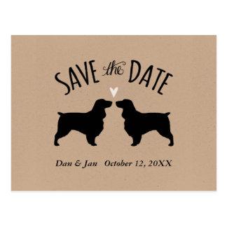 Cartão Postal Silhuetas do Spaniel de campo que Wedding
