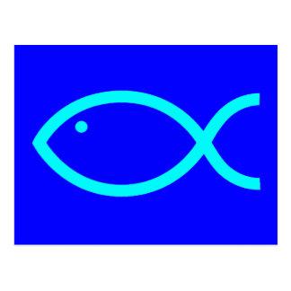 Cartão Postal Símbolo cristão dos peixes - RUIDOSAMENTE! Azul e