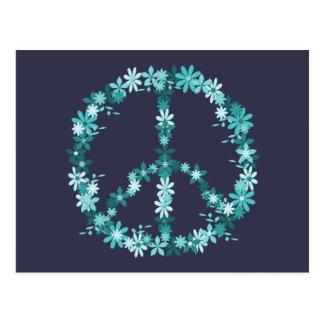 Cartão Postal Símbolo de paz flower power
