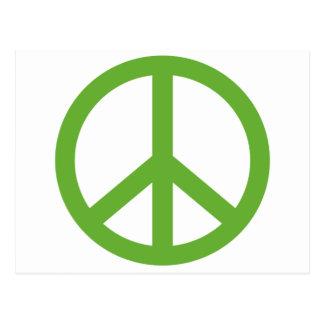 Cartão Postal Símbolo verde do sinal de paz