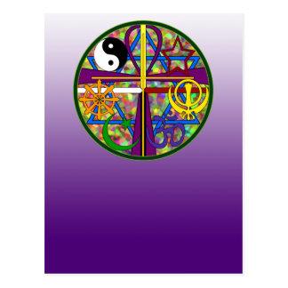Cartão Postal Símbolos do espiritual da unidade