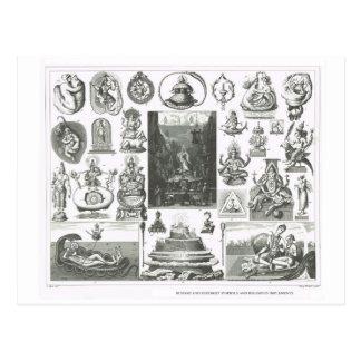 Cartão Postal Símbolos Hindu e budistas