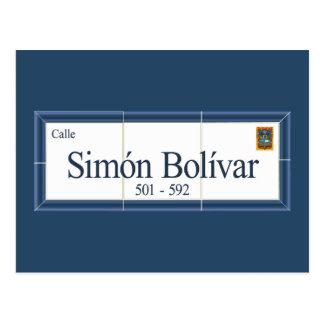 Cartão Postal Simon Bolivar, sinal de rua, sucre, Bolívia