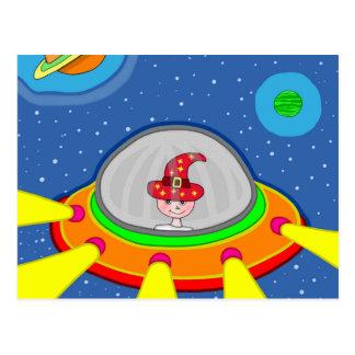 Cartão Postal Simon e sua nave espacial