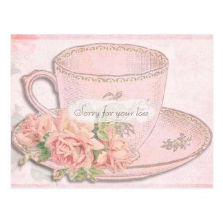 Cartão Postal Simpatia do copo e dos rosas de chá do vintage