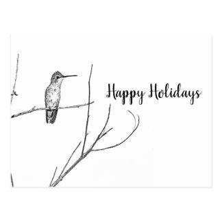 Cartão Postal simplesmente um colibri em uma vara, boas festas