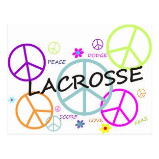 Cartão Postal Sinais de paz coloridos Lacrosse