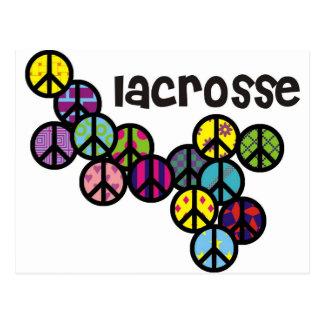 Cartão Postal Sinais de paz do Lacrosse enchidos