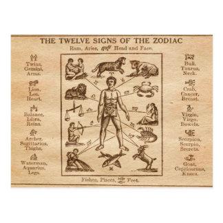 Cartão Postal Sinais do vintage 12 do zodíaco