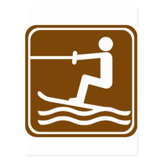 Cartão Postal Sinal da estrada do esqui aquático