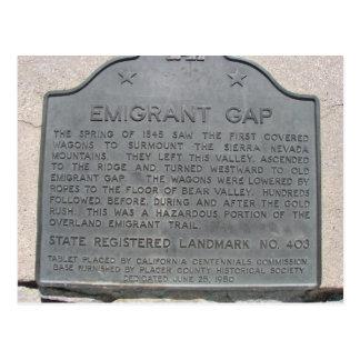 Cartão Postal Sinal da história de Gap do emigrante