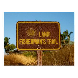 Cartão Postal Sinal da ilha do vintage da fuga do pescador de