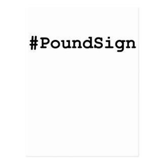 Cartão Postal Sinal da libra de Hashtag