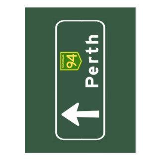 Cartão Postal Sinal de estrada de Perth, Austrália