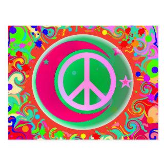 Cartão Postal Sinal de paz, lua, estrelas & tudo