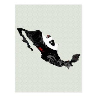 Cartão Postal Sinal de paz na moda de México com mapa mexicano