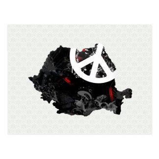 Cartão Postal Sinal de paz na moda de Romania com mapa romeno