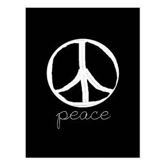 Cartão Postal Sinal de paz retro no fundo preto