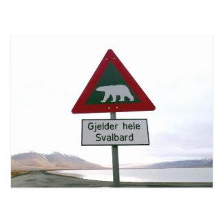 Cartão Postal Sinal de tráfego do cruzamento do urso polar