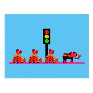 Cartão Postal Sinal de trânsito temperamental com caravana do
