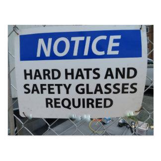 Cartão Postal Sinal do capacete de segurança