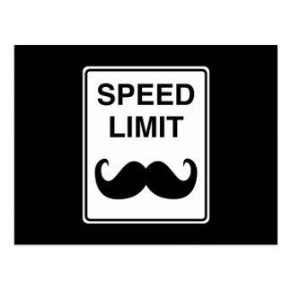Cartão Postal Sinal do Mustachio do limite de velocidade