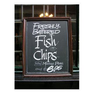 Cartão Postal Sinal do peixe com batatas fritas