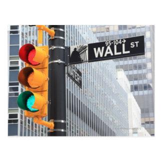 Cartão Postal Sinal e sinal de Wall Street
