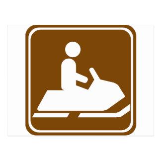 Cartão Postal Sinal Snowmobiling da estrada da fuga